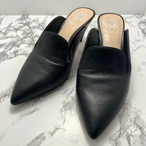Vince Camuto Black Leather Mules Pointed Toe
